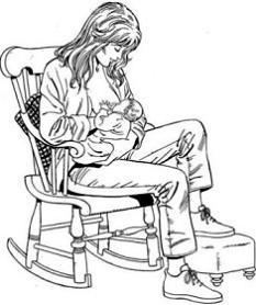 Madre amamantando sentada